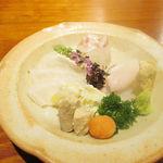 不風流 - 本日のお造り カワハギ 肝 白身魚