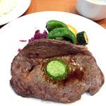 七條 - ランチ リブロースステーキ 香草バター添え(1,200円)