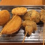 串カツ田中 - 煮玉子、玉ねぎ、レンコン、椎茸、レバカツ