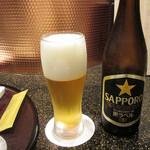 天ぷら 東山 - 瓶ビール550円('18.10月初旬)