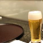 天ぷら 東山 - 生ビール500円税込('18.10月初旬)