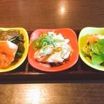 Bishokubisaiichigoichie - 前菜3種盛り