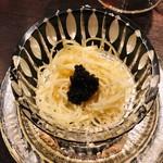 祇園びとら、 - 特製素麺 キャビア乗せ 羅臼昆布のジュレと西洋ワサビ