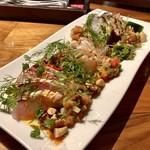 フィッシュ グラウンド - 料理写真:カルパッチョ盛合せ:佐島の活地蛸 大分の天然カンパチ 長崎のヒゲダラ2