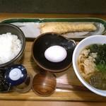 本町製麺所 天 - 鮭ハラス朝うどん定食@600円