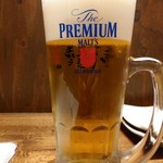 肉汁餃子のダンダダン - 生ビールはプレミアムモルツ通常480円がキャンペーンで190円