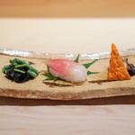 味ひろ - 茄子のガクの炊いたの、 三度豆の胡麻和え  茗荷寿司  ばちこ、 蛸の柔らか煮