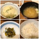 みよしの食堂 - ◆小鉢はポテサラ・・マヨネーズは少なめですが、自家製かしら。 ◆ご飯の質は普通、通常より少な目にして頂きました。 ◆お味噌汁 ◆高菜・・もう少し量が欲しいところ。