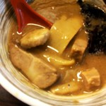 夢ノ弥 - 濃厚鶏魚介夢つけ麺(750円)に,味玉(100円)トッピング。
