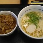 なか卯 - 和風牛丼ミニ+はいからうどん