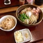 Sanukiudonharushin - 冷ぶっかけうどん2玉(¥670)             Aセット[炊き込みご飯](+¥200) 計¥870