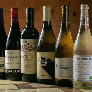 ワインは全て自然派ワインわご用意しています。