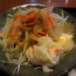 お食事処 肴町 - 千切りキャベツサラダとポテサラ