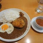 ルー・ド・メール - メンチカツカレー大盛+スープ