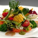 オーガニック野菜サラダ(いろいろな地元野菜のサラダ)