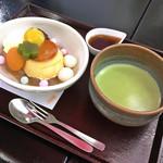 まとい - 和三盆プリンのあんみつ お抹茶付き(税込1,480円)