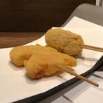 串揚げと鍋の美味しい店 福助 - レンコン明太子、とうもろこしポテト