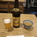 築地 布恒更科 - エビス瓶ビール (中瓶)  680円