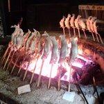 上川養鱒場 - 鱒塩焼き囲炉裏