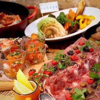 朝獲れ鮮魚と地場野菜のお値打ちなコースをご用意しております。