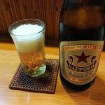 やなぎ - ビールはサッポロ赤星(¥550)