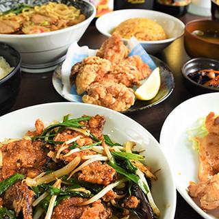 豊富な定食、丼物、ラーメン、一品料理