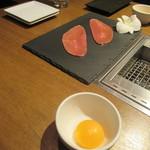 琉球ビーフ&ビア - もとぶ牛大判卵黄添え