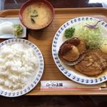 96086533 - 井坂煮とカニクリームコロッケのコンビ定食