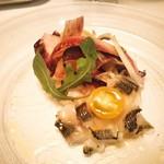 96089521 - 伊佐木の炙りカルパッチョと彩り野菜のサラダ 柚子ドレッシングと柚子胡椒のアクセント