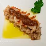 96090201 - 無農薬玄米とはだか玄麦のパルミジャーノリゾット オマール海老のメダリガーネ 2種のオイルの食べ比べ