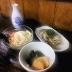 マツヤ木曽 - あん肝酢みそ/ 牛肉、ひじき入り玉子/ スパゲティサラダ
