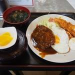 淀ヤ食堂 - ハンバーグと海老フライの定食