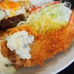 淀ヤ食堂 - ハンバーグと海老フライの定食(海老フライ タルタルソース)