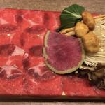 96097758 - タンしゃぶ肉、野菜盛り合わせ