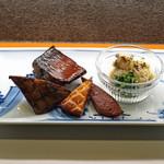 ねぎま - 燻製盛合わせ  鯖、鮪のトロ、チーズ、笹蒲鉾、大人のポテトサラダ
