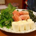 ねぎま - ねぎま鍋 その二  ハラモ、クレソン、葱、若布
