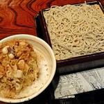 96118392 - 「半もりと烏賊と長ネギのかき揚げ丼」 1,030円