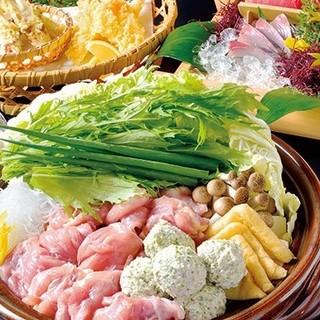 各種宴会にピッタリな、大山鶏とつくねのハリハリ鍋