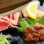 魚やん鶏 - 右上三種 ササミ、ズリ、生ギモ