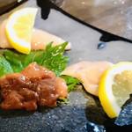 魚やん鶏 - 右側三種 ササミ、ムネ、生ギモ
