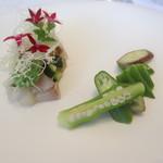 96157395 - 五島列島アジのマリネ 根セロリの冷たいスープ