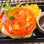 数寄屋バーグ - トマトチーズのトッピング  ガーリック醤油ソース
