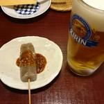 からす - 料理写真:生ビールと味噌田楽