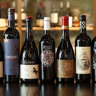 自然派ワインにこだわってワインをご用意しています