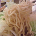 どすこい拉麺芝松 - 麺は固ゆでの細麺。もう少しやわらかくてもいいかな。