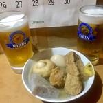 平澤かまぼこ - 生中2杯と、おでん¥1600(税込)