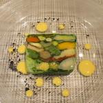 レストラン ツジ - 20種類の元気野菜のテリーヌ サフランのマヨネーズソース添え