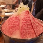 96213702 - メインの霜降り和牛鍋♪肉と出汁が激ウマでした!