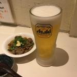 96225215 - 手打うどん 長谷沼 「生ビール(中)」480円(税込)