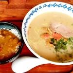 らーめん 西海 - 料理写真:らーめん 西海@八王子みなみ野店 西海ラーメンとミニカレー丼(850円)